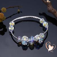 Bracelet perles cristal et tube argent - au coeur des arts