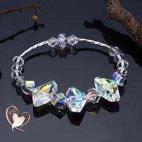 Bracelet perles cristal swarovski et tube argent - au coeur des arts