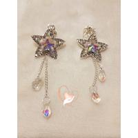 Boucles d'oreille en cristal plaqué or étoiles - au coeur des arts