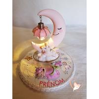Veilleuse lampe licorne sur socle en bois bébé fille - au cœur des arts