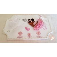 Plaque de porte bébé fille rose - au coeur des arts