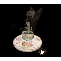 Veilleuse 3D sur socle en bois bebe fille fée clochette - au coeur des arts