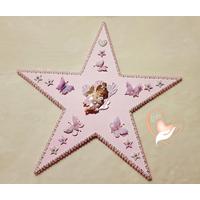 Étoile lumineuse plaque de porte bébé fille fée clochette rose - au cœur des arts