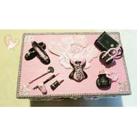 Boîte à bijoux femme noire et rose - au cœur des arts