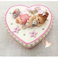 Boîte à dents de lait coeur bébé fille fée clochette - au coeur des arts