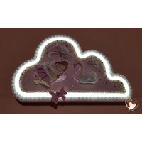 Veilleuse nuage lumineux fille applique murale - au coeur des arts