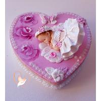 Boîte à dents de lait coeur bébé fille - au coeur des arts