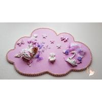 Plaque de porte en forme de nuage bébé fille - au cœur des arts