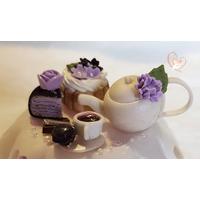 Sucrier ou pot à confiture violet et blanc - au coeur des arts