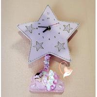 Horloge avec balancier Etoile bébé fille - au coeur des arts