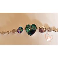Bracelet argent cœur bleu cristal swarovski - au coeur des arts