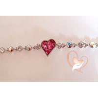 Bracelet argent avec perles cristal et cœur élément Swarovski - au coeur des arts