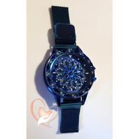 Montre fantaisie bleue bracelet réglable aimanté avec cadran rotatif - au coeur des arts