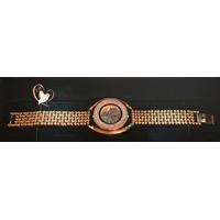 M17B-Montre plaqué or bracelet chaîne boule cadran cristal Swarovski