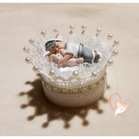 Couronne à dragées en coton crocheté à la main bébé garçon - au coeur des arts