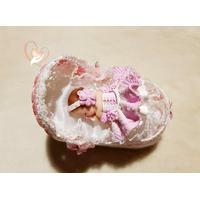 CD21-au-coeur-des-arts-couffin boîte à dragées bebe fille fimo
