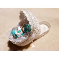 Couffin boite à dragées en coton crocheté à la main bébé garçon - au coeur des arts