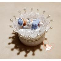 CD14B-au-coeur-des-arts-couronne boîte à dragées bebe garçon fimo