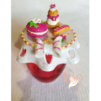 Sucrier ou pot à confiture framboise macaron religieuse