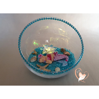 Veilleuse sirène dans sa bulle rose et bleue
