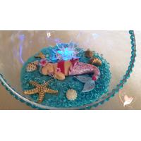 25-Veilleuse Sirène dans sa bulle rose et bleue - au coeur des arts