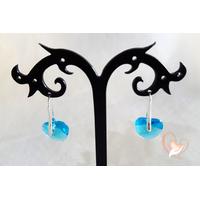 Boucles d'oreille coeur turquoise argent- au coeur des arts