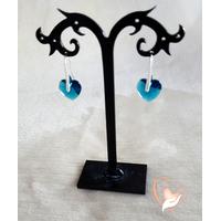 Boucles d'oreille coeur bleu argent- au coeur des arts