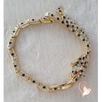 Bracelet panthère plaqué or et strass