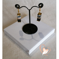 Boucles d'oreille Kenya zébré et noir plaqué or- au coeur des arts
