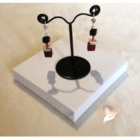 Boucles d'oreille Stendhal noir et rouge argent- au cœur des arts
