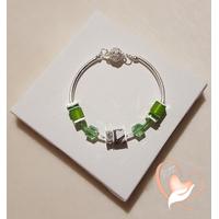 Bracelet élégance vert argent- au coeur des arts