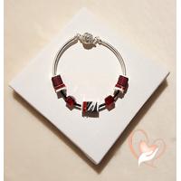 Bracelet élégance rouge argent- au coeur des arts