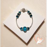 Bracelet tubes argentés bleu turquoise- au coeur des arts