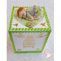 Tirelire bébé garçon vert et gris - au coeur des arts