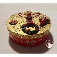 Boîte à gâteaux ou dosettes café, à chocolats rouge et dorée - au coeur des arts