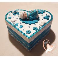 Boîte de naissance bébé garçon turquoise et blanche - au coeur des arts