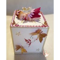 Tirelire enfant bébé fille petite fée rose- au coeur des arts