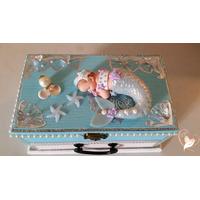 Boîte à musique bébé sirène bleue- au coeur des arts