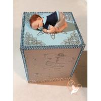 Tirelire bébé garçon bleu ciel et gris- au coeur des arts