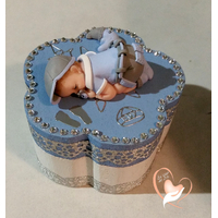 Boîte à dent de lait bébé garçon bleu acier - au coeur des arts