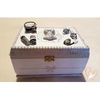 Boîte à bijoux grise et blanche - au coeur des arts