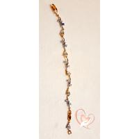 Bracelet  plaqué or orné de pierres  gouttes cristal - au coeur des arts