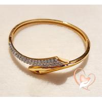 Bracelet jonc serpent plaqué or  et strass - au coeur des arts