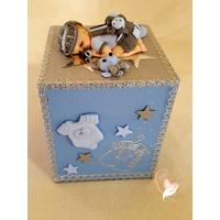 Tirelire bébé garçon bleu et gris  - au coeur des arts