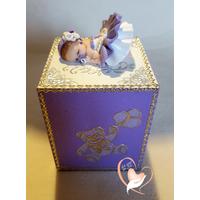 Tirelire bébé fille parme et blanc - au coeur des arts