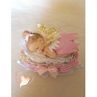 Marque place bébé fille fée clochette rose baptême - au coeur des arts