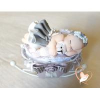 4C-Marque place bébé fille gris avec son ours baptème - au coeur des arts