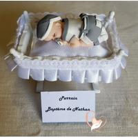 Marque place bébé garçon gris et blanc baptême - au coeur des arts