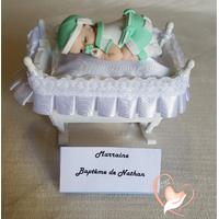 Marque place bébé garçon vert et blanc baptême - au coeur des arts