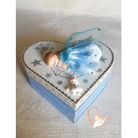 Boîte de naissance bleue et blanche reine des neiges - au coeur de arts